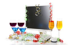 Celebration with computer set Royalty Free Stock Photos