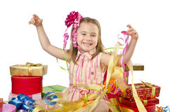 Celebration concept with girl Royalty Free Stock Photo