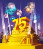 Golden 75th anniversary against city skyline. A celebration concept of golden 75th anniversary against city skyline Royalty Free Stock Images