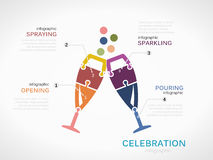 Celebration. Concept infographic template with glasses made out of puzzle pieces royalty free illustration