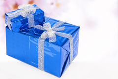 Celebration Concepts. Two Blue Wrapped Up Gift Boxes Standing Together Stock Photography