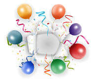 Celebration with confetti and balloon Royalty Free Stock Photos