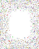 Celebration Confetti Frame. Celebration and party confetti frame and streamers in the air as a festive design element for an anniversary or birthday fun with a Stock Image