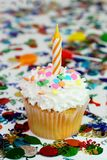 Celebration Cupcake with Candle Royalty Free Stock Image