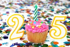 Celebration Cupcake with Candle - Number 25 Stock Photos