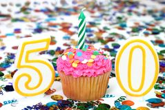 Celebration Cupcake with Candle - Number 50 Royalty Free Stock Image