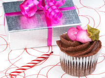 Celebration Cupcake With Gift Royalty Free Stock Photography