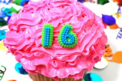 Celebration Cupcake - Number 16 Stock Images