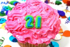 Celebration Cupcake - Number 21 Stock Photo