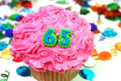 Celebration Cupcake - Number 65 Royalty Free Stock Photos