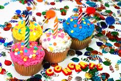 Celebration Cupcakes with Candles Royalty Free Stock Images