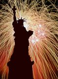 Celebration day. Image of lady liberty with fire works background Stock Photos