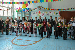 The celebration of the day of knowledge in one of the rural schools of the Kaluga region of Russia. Royalty Free Stock Images