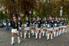Celebration of the Day of the State Flag of Ukraine in Uzhgorod. Uzhgorod, Ukraine - August 23, 2017: The ensemble of drummers of the police of Donetsk region stock images
