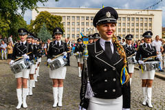Celebration of the Day of the State Flag of Ukraine in Uzhgorod. Uzhgorod, Ukraine - August 23, 2017: The ensemble of drummers of the police of Donetsk region royalty free stock photo