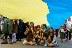 Celebration of the Day of the State Flag of Ukraine in Uzhgorod Stock Images