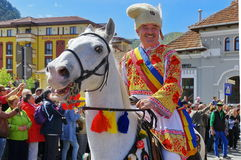 Man on the horse, in traditional national costume, at the parade - Celebration Days of Brasov City, landmark attraction in Romania. Man on the horse in stock photos