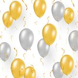 Celebration design with gold balloons, confetti. Celebration design on white background. Festive concept with flying gold and silver balloons, golden confetti stock illustration