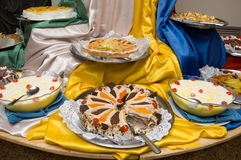 Celebration desserts. Picture of a variety sweet desserts with the element of decoration Royalty Free Stock Images
