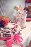 Celebration desserts. Sweet desserts for celebration: cake and sweets Royalty Free Stock Photo