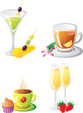 Celebration drink`s set. Set of celebratory drinks and food.  Isolated on a white background. Vector illustration (EPS8). All parts (object) closed, possibility Royalty Free Stock Photo