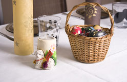 Celebration of easter. Passover, candles, eggs on the table Stock Image