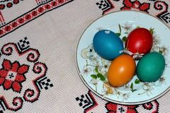 Celebration Easter colored eggs. Most commonly spread Christian Easter egg painting is red , whose presence is mandatory Passover meal , although currently are royalty free stock photography