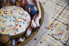 Celebration of Easter with dyed eggs and Paska homemade Royalty Free Stock Images
