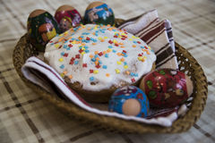 Celebration of Easter with dyed eggs and Paska homemade Stock Image