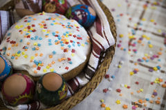 Celebration of Easter with dyed eggs and Paska homemade Royalty Free Stock Photo