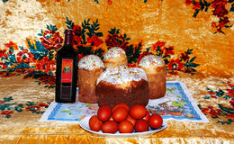 Celebration of Easter eggs decoration colored red wine Royalty Free Stock Photos