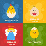 Celebration easter Icons. Flat styled objects set. Rabbit, birds, eggs, flowers and other symbols of spring. Vector Stock Photo