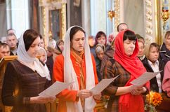 He celebration of Easter in the Russian Orthodox Church on 12 April 2015. Royalty Free Stock Photos