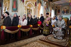 He celebration of Easter in the Russian Orthodox Church on 12 April 2015. Stock Photo