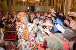 He celebration of Easter in the Russian Orthodox Church on 12 April 2015. Royalty Free Stock Photography
