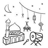 Eid Fitri Doodle stock illustration