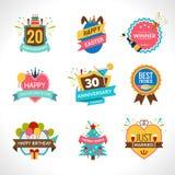 Celebration Emblems Set Stock Photos