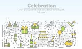 Celebration event agency advertising vector flat line art illustration Stock Photo
