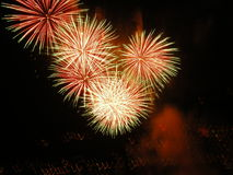 Celebration explosion. An awesome explosion of celebration at a fireworks display bright colors colours in italy royalty free stock images