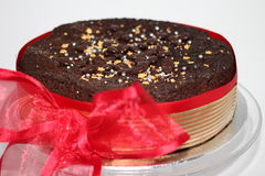 Chocolate cake wrapped in ribbon Stock Image