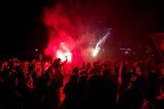 Celebration of FC Barcelona hooligans Royalty Free Stock Photography
