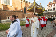 During the celebration the Feast of Corpus Christi (Body of Christ) also known as Corpus Domini, Stock Photo