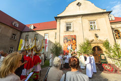 During the celebration the Feast of Corpus Christi (Body of Christ) Royalty Free Stock Photos