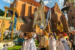 Celebration the Feast of Corpus Christi in Krakow Royalty Free Stock Images