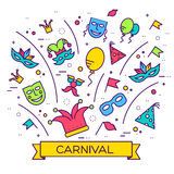 Celebration festival holiday party equipment thin lines illustrationss set. Vector masquerade carnival collection design. Illustrations concept Royalty Free Stock Photos