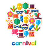 Celebration festive background with carnival flat. Icons and objects Royalty Free Stock Images