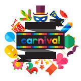 Celebration festive background with carnival flat. Icons and objects Stock Photo