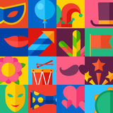 Celebration festive background with carnival flat. Icons and objects Stock Photography