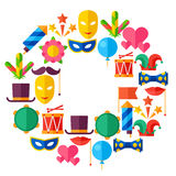 Celebration festive background with carnival flat. Icons and objects Stock Images