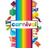 Celebration festive background with carnival flat. Icons and objects Royalty Free Stock Photo